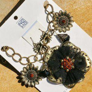 Boho Necklace Chunky Statement Rhinestone Flower